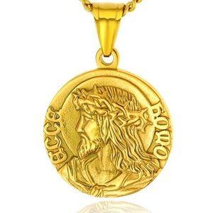 18k Gold Jesus Portrait Pendant Coin Necklace